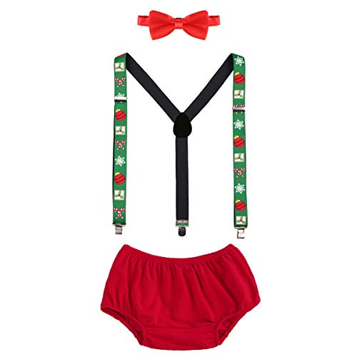 OBEEII Christmas Holiday Party Baby Toddler Boy Cake Smash Outfits Suspender Bottoms Tie Headband Dress Up Fancy Costume Christmas Mistletoe -