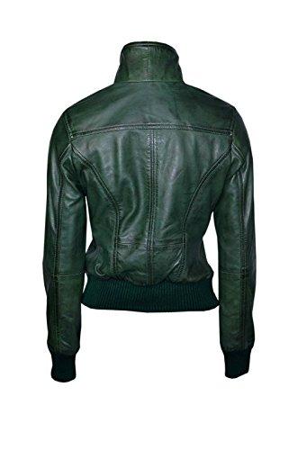 'Fusion' Damen grün gewaschen kurz Bomber Biker-Style Leder Motorrad Jacke