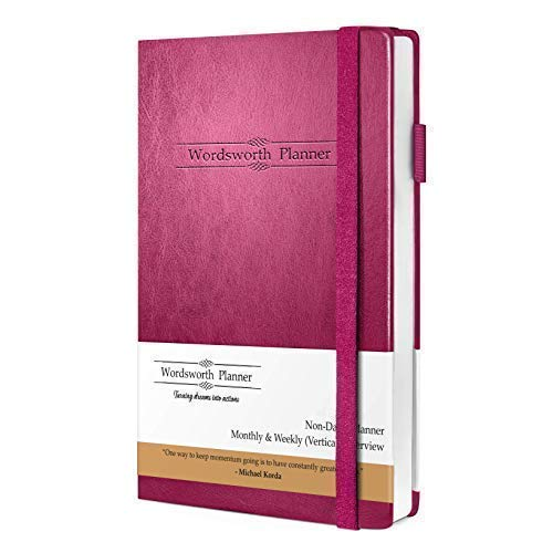 Wordsworth 2019 Undated Planner, Productivity Organizer and Journal - Vegan Leather -for College Students, Academics, and Business Owners - with Motivational Quotes, to-Do List and 12 Months Planning