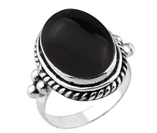 (8.90ctw,Genuine Black Onyx 12x16mm Oval & .925 Silver Plated Handmade Ring (Size-6))