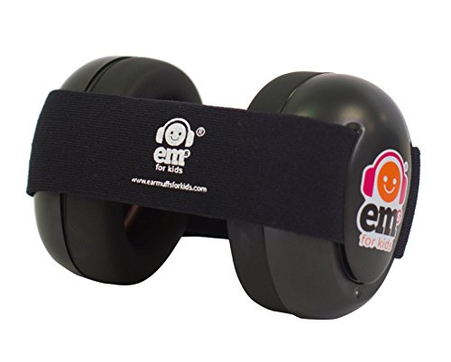 Ems for Kids Baby Earmuffs - Black with Black. Made in The U.S.A! The Original and ONLY Earmuffs Designed specifically for Babies Since 2009 - Earmuffs Position