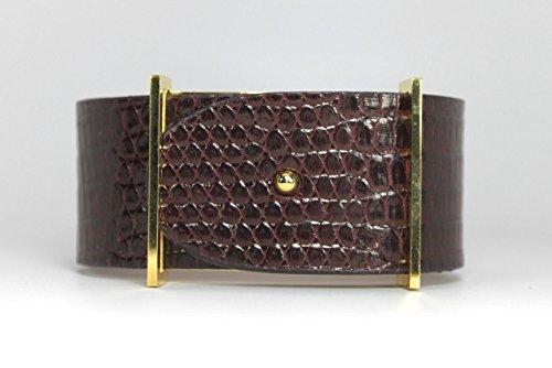 Burgundy Lizard (Loire Luxury Fashion Leather Bracelet Wrap Genuine Lizard Burgundy Bangle for Women)