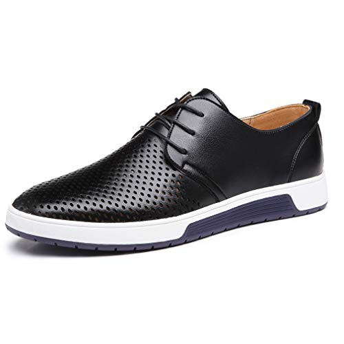 Flat Shoes Casual Men (Timyy Men's Casual Oxford Shoes Lace-up Flat Fashion Sneakers Black)