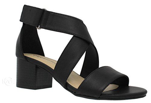 MVE Shoes Women's Open Toe Strappy Low Heeled-Sandals, Black pu 7.5