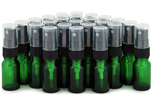 Vivaplex, 24, Green, 10 ml (1/3 oz) Glass Bottles, with Black Fine Mist Sprayer's ()