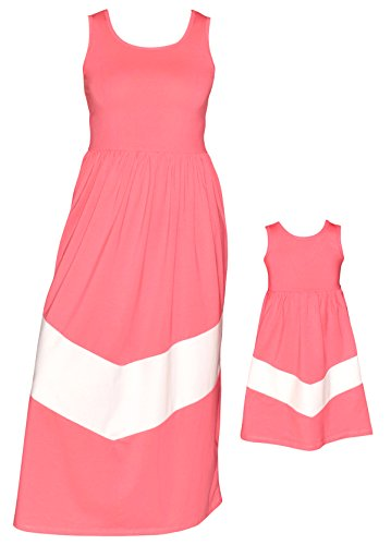 Unique Baby Mommy and Me Matching Chevron Dress (Kids 3T) Pink & -