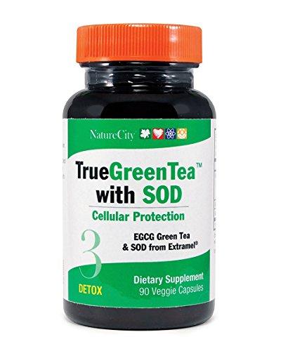 - True Green TeaExtract Supplement w/SOD & EGCG – Boost Metabolism, Energy, Heart Health – 90 Veggie Capsules