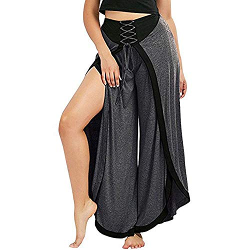 TIANMI 2019 Spring Deals!Women Sexy Wide Leg Pants Lace Up Loose High Waist Palazzo Wide Legs Capri Pants Dark Gray