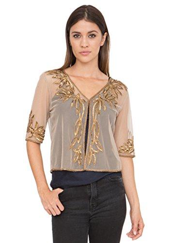 likemary Bolero Shrug Crop Jacket Bead & Sequin Embellished Gold L