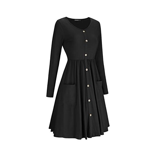V Neck Button Down Skater Dress with Pockets