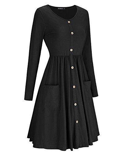 Jual OUGES Women s Long Sleeve V Neck Button Down Skater Dress with ... 2f619000f