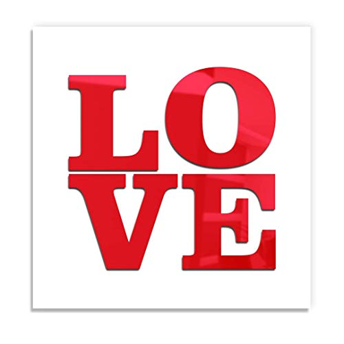 4ArtWorks - Love 3D Wall Art - Red or Mirror Gloss Silver -