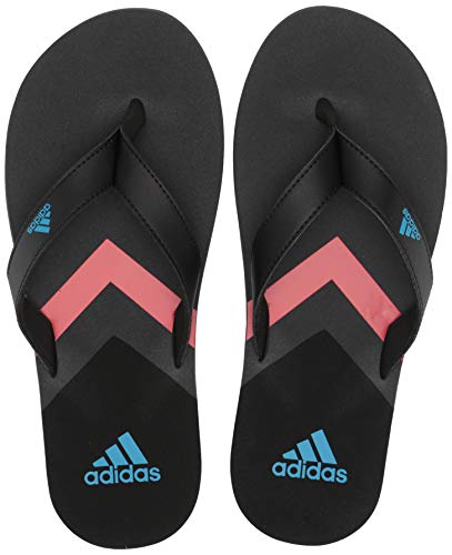 adidas Men's Eezay Flip Flop, Black/Shock Cyan/Grey 10 M US ()