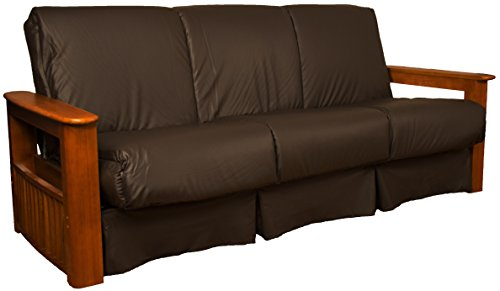 Epic Furnishings Chicago Storage Arm Style Perfect Sit & Sleep Pocketed Coil Inner Spring Pillow Top Sofa Sleeper Bed, Queen-size, Walnut Arm Finish, Leather Look Brown Upholstery