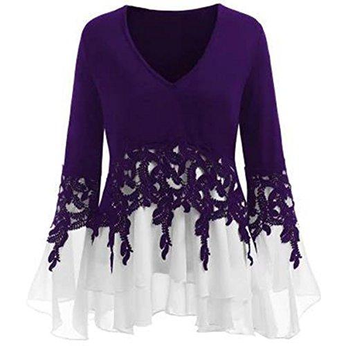 Blouse De Manches Purple Irrgulier Mousseline Basique Chemisier en Vintage Femmes Longues Soie Femme Dbardeur S6napUSx7