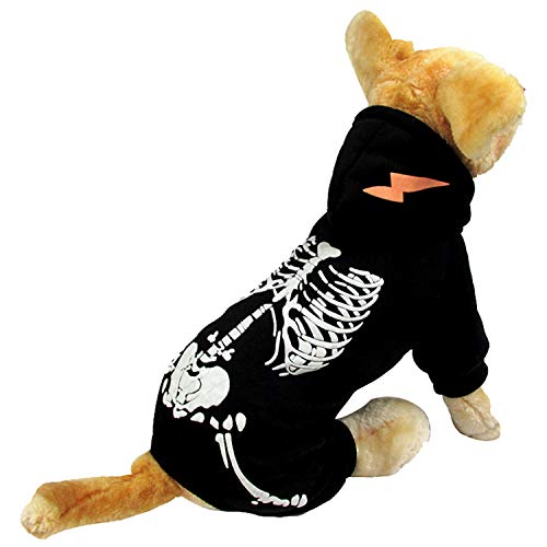 HDE Dog Skeleton Hoodie Pet Halloween Costume One Piece Black Outfit with Skeleton Print and Hood (Black, Large) -