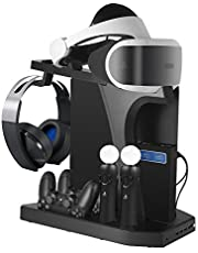 DACCKIT Charging & Display Vertical Stand for PlayStation VR - Controllers Charging Station Showcase with Cooling Fan Compatible with Playstation 4 / PS4 Pro / PS4 Slim