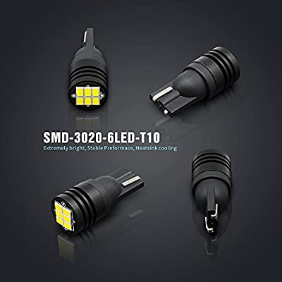 SIRIUSLED CB Extremely Bright 400 Lumens 3020 Chipset Canbus Error Free LED Bulbs for Interior Car Lights License Plate Dome Map Side Marker Courtesy T10 168 194 2825 6000K White: Automotive