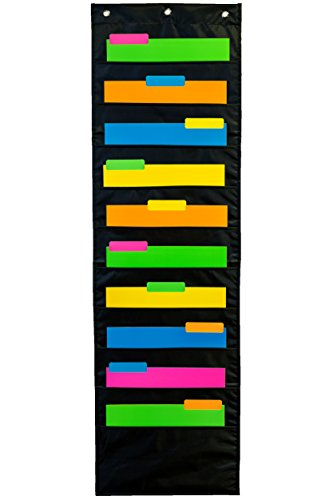 Premium-Wall-Storage-Pocket-Chart-Organizer-for-Office-School-and-Home-Use-10-Large-Fabric-Pockets-Size-47-X-14-Black