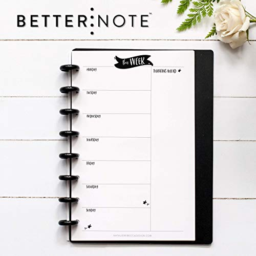 (BetterNote, This Week, Weekly Organizer for DiscBound Notebook, 8-Disc Half Letter Size, Fits Levenger Circa Junior, Arc, TUL 5.5
