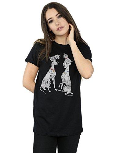 Disney Women's 101 Dalmatians Classic Pongo and Perdita Boyfriend Fit T-Shirt X-Large Black]()