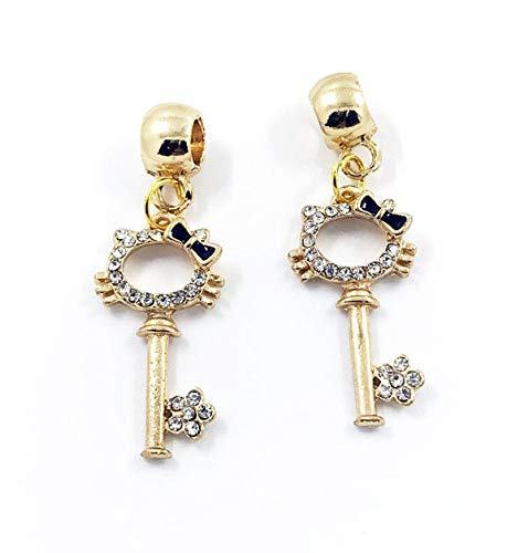 2pcs Cat Key European Gold Pendant CZ Charm Beads Fit Necklace Bracelet DIY ()