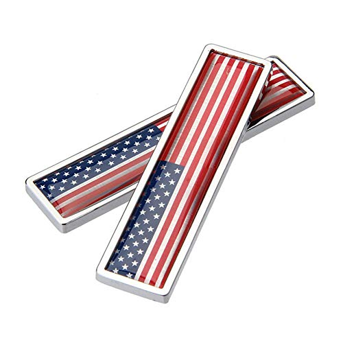 3d Chrome Car - DSYCAR 1Pair 3D US Flag Sticker Car Emblem Decal Aluminum Alloy Sticker for Truck, Car, Motorcycle Stying