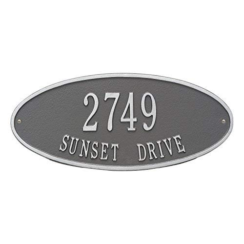 Whitehall Products Madison Oval Pewter/Silver Standard Wall Two Line Address Plaque ()