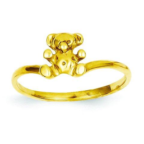 Ring 14k Teddy Bear (14k Childs Polished Teddy Bear Ring)