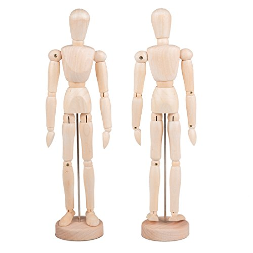 Tosnail 12 Inches Tall Wooden Mannequin Artist Manikin with Stand - Great for Drawing or Desktop Decor - Pack of 2
