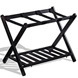 BeUniqueToday Folding Wood Stand Travel Luggage Rack with Shelf, Travel Folding Luggage Rack Shelf Wood Stand Suitcase Storage Holder Shoe Bag Portable Display Organizer, Wood Travel Luggage Rack