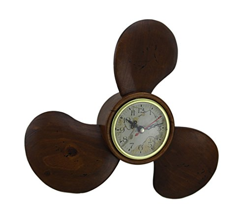 Wood Ships Propeller Shape Wall Clock Nautical Beach Decor (Wood Propeller Clock)