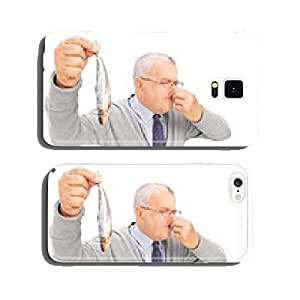 Senior gentleman holding a rotten fish cell phone cover case iPhone5