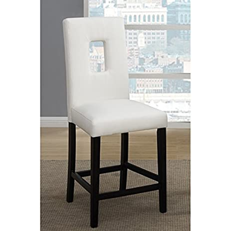 Set Of 4 White Leather Counter Height Stools Parson High Chairs Bar Stools