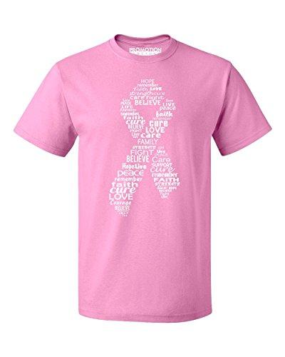 Promotion & Beyond White Ribbon Breast Cancer Awareness Men's T-Shirt, S, Azalea ()