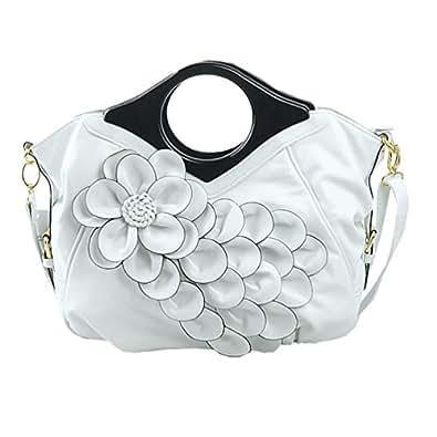 Dexinx Bolsa Totalizadores Oficina de Diseño Flor de Alta Calidad Bolsa Classic Multi de Moda Compartimiento Superior-asa de la Bolsa de Hombro Blanco
