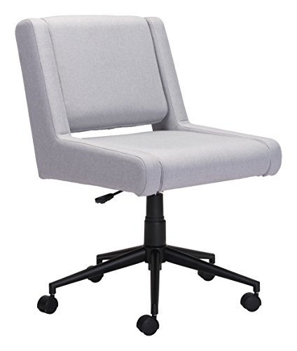 Desk Zuo Modern Modern (Zuo Modern 100963 Brix Office Chair, Light Gray, Seat Swivels and Adjusts in Height, Cushioned Seat and Back, Sturdy Casters, 250 lbs Weight Capacity, Dimensions 26.4