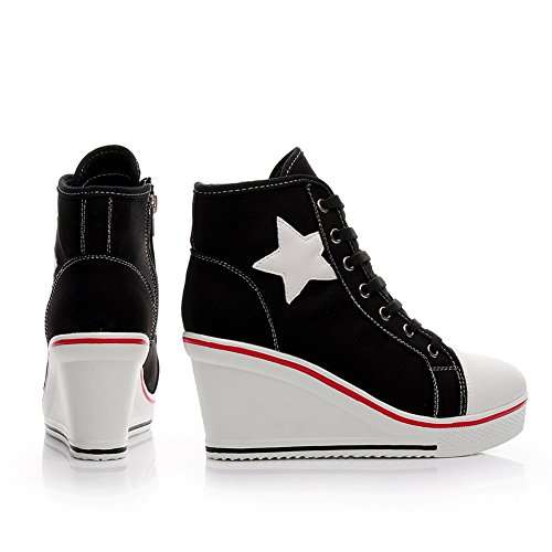 Women's Canvas Wedge Shoes High-top Platforms Side Zipper Lace up Boots 630black c6I11ofvNN