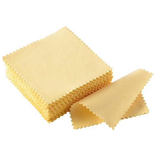Sunshine K'lai Polishing Cloths, Bulk Pack, for Silver, Gold, Brass and Copper Jewelry (50 Pack) (Yellow)