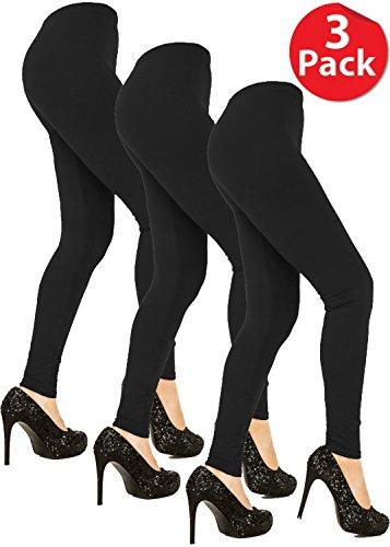 Juicy Leggings Premium Super Soft High Waist Leggings 3 Pack - 20 Colors (Small/Medium, Black) for $<!--$24.99-->