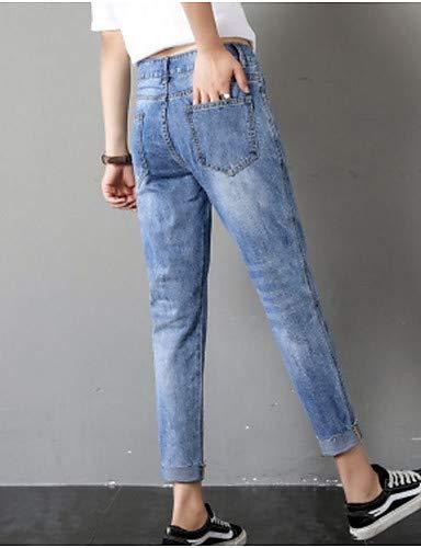 Blue de algodón Pantalones Mujeres Color Delgados YFLTZ de Las Vaqueros sólido qIdvwI0X