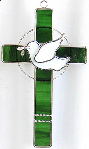 Dove Cross Stained Glass (Stained Glass Cross with Dove - Teal)