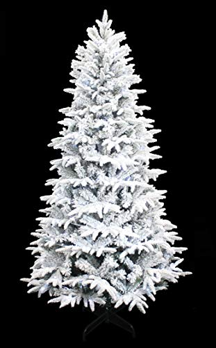 HOLIDAY STUFF Wonderland Spirit Spruce Flocked Christmas Tree pre-lit with Cool White LED Lights (6ft)