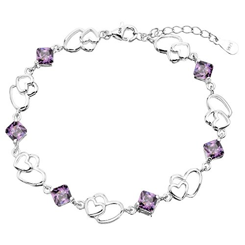 EleQueen 925 Sterling Silver CZ Double Love Open Heart Tennis Bracelet Amethyst Color, 6.9