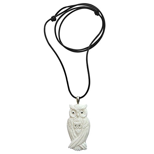 NOVICA Adjustable Leather Carved Bone Pendant Necklace, 13.5