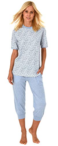 - NORMANN Women's Capri Pyjamas with Short Sleeves and 3/4-long Capri Pants, Dotted - 191 204 90 218, Farbe:Blue-Melange, Size:X-Large