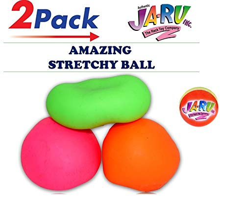 JA-RU Stretchy Ball (Pack of 2) and 1 Bouncy Ball Set Soft Bounce Stress Ball Pull and Stretch | Item #401-2p