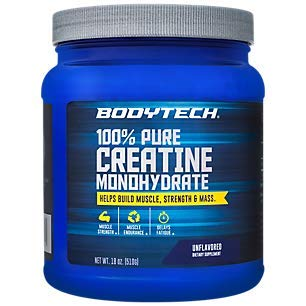 BodyTech 100 Pure Creatine Monohydrate Unflavored 5 GM Serving Supports Muscle Strength Mass 18 Ounce Powder