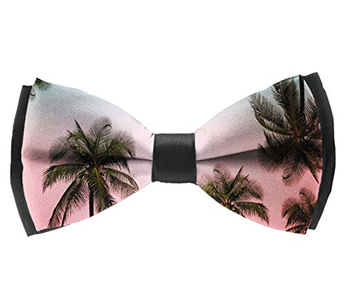 AIMVOGUE Mens Bow Ties Handmade Pre-Tied Palm Tree Red Green Combination Pattern Bow Ties for Men
