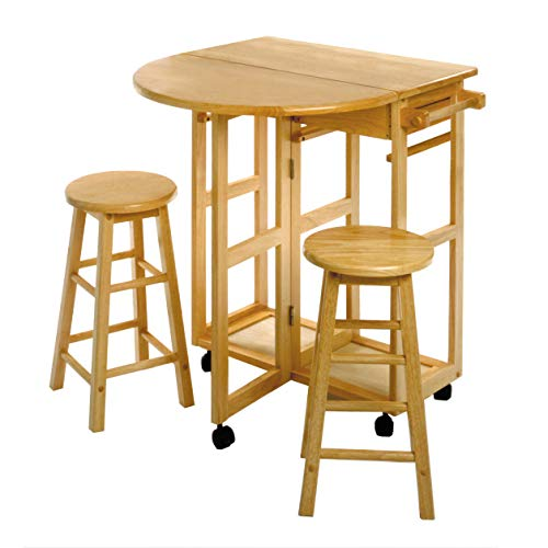 Winsome Trading, Inc. 89332 Burnett Kitchen, Round, Natural (Bar Wooden Breakfast Stools)